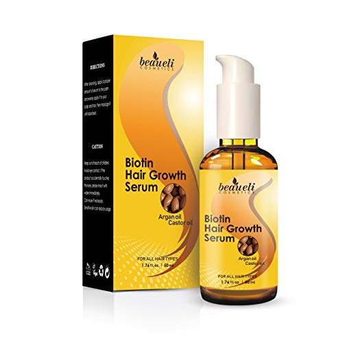 Biotin Hair Growth Serum with Castor Oil, Argan Oil - Hair Loss Prevention Treatment with fine thinning hair Formula to Help Grow Healthy Thicker Strong Hair for Men & Women By Beaueli