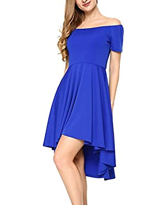 Mixfeer Women Off Shoulder Dress High Low Skater Dress Short Sleeve Dress