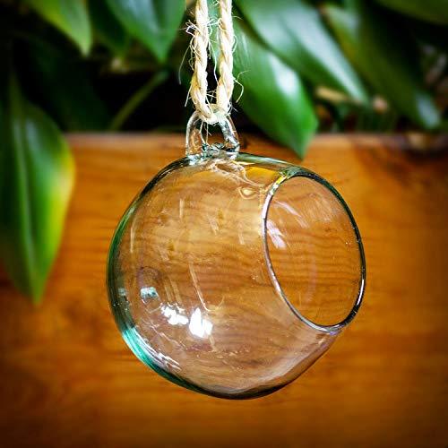 Mitienda glasfabrikant, terrarium deco vaas Esfera helder om op te hangen, terrarium 15 cm, mondgeblazen raamdecoratie tafelvaas bloemenvaas Kerstmis