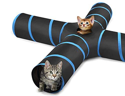 Pawaboo Túnel para Gatos, Prima 4 Vías Túneles Extensible Plegable Gato Jugar Túnel Casa del Laberinto del Juguete con Pompón y Campanas para Gato Gatito Cachorro Conejo, Negro y Azul