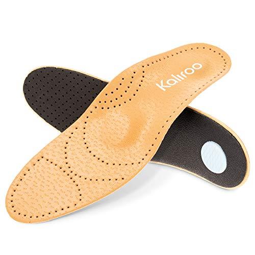 Kaliroo Echt-Leder Einlegesohlen mit Pelotte und Bogenstütze, Dünne Komfort Schuheinlage Fußbett, Atmungsaktiv Entlastend Kräftigend, Größe:39/40