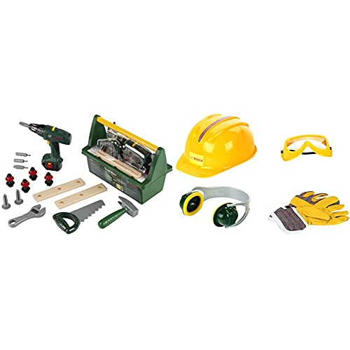 Theo Klein 8429 Bosch Tool Box I With Saw, Hammer, Pliers and Much More I 31cm x 16.5cm x 22.5cm & 8537 Bosch Accessories Set I Work Gloves, Ear Protectors and Helmet I 30cm x 38cm 10cm