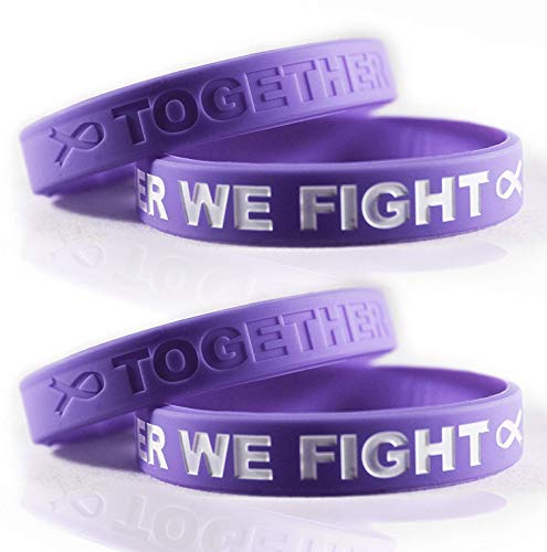 Cancer & Cause Awareness Bracelets with Saying Together We Fight, Gift for Patients, Survivors, Family and Friends, Set of 2 Ribbon Silicone Rubber Wristbands (Stomach Cancer Periwinkle 4 Pack)
