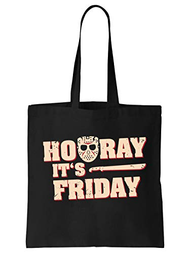 clothinx Hooray It is Friday Halloween Hockey Maske Horror Motiv Einkaufstasche Schwarz