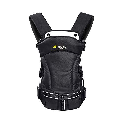 Hauck 3 Way Carrier ergonomische Babytrage, inkl. Kopf und Nackenstütze, abnehmbares Spucktuch, hoher Tragekomfort, drei verschiedene Tragemöglichkeiten, ab Geburt bis zu 12 kg, schwarz