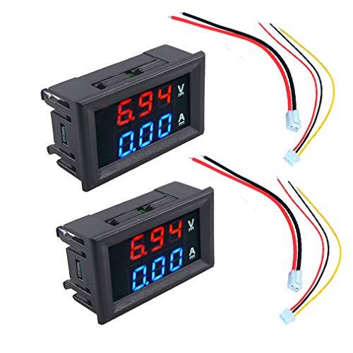 HiLetgo 2pcs 0.56 Digital Voltmeter Ammeter DC 100V 10A Amp Voltage Current Meter Tester 0.56 Inch 3 Bits Blue + Red Dual LED Display Panel with Connect Wires