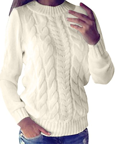 Styledome Women Casual Cable Knit Oversized Baggy Long Pullover Knitted Plain Chunky Sweater Jumper Tops Shirt
