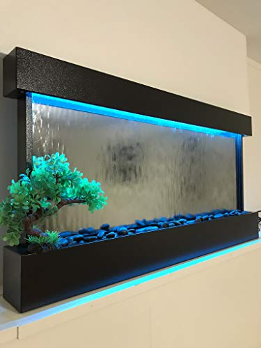 Wall WaterFall XL 47'x24' White frame wall fountain ,Mirror Glass , Color Lights Remote Ctrl $100 OFF SALE