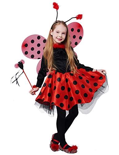IKALI Disfraz de Mariquita para niña, Vestido de Lujo,Traje de Animal con alas(Set de 10 Piezas) 7-8años