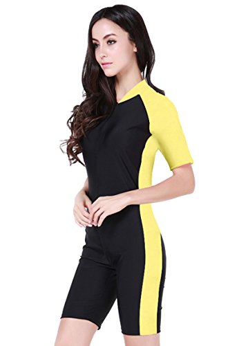 Swimsuit for Women one Piece Yellow Black-Women Asian 2XL = US XL