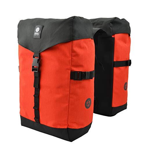 AGU Urban Essentials Dubbele Fietstas - Dubbele tas met regenvanger - Waterafstotend - Ritsafsluitbaar - Trekkoord met stopper - 36 liter - Oranje