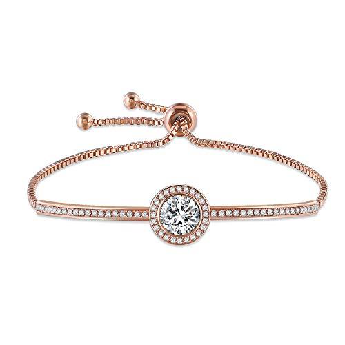 GEORGE · SMITH Cinderella Pulseras clásicas de plata para mujer, pulsera de oro rosa, pulsera de boda, regalos ideales para mamá, hija, esposa