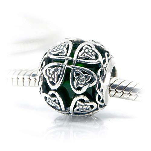 Celtic Shamrock Charm Dark Green Murano Glass & Sterling Silver Bead Lucky Shamrock Charm S925, Irish Celtic Eternal Love Knot Silver Charm Bead, Irish 4 leaf Clover pendant Charm Jewelry
