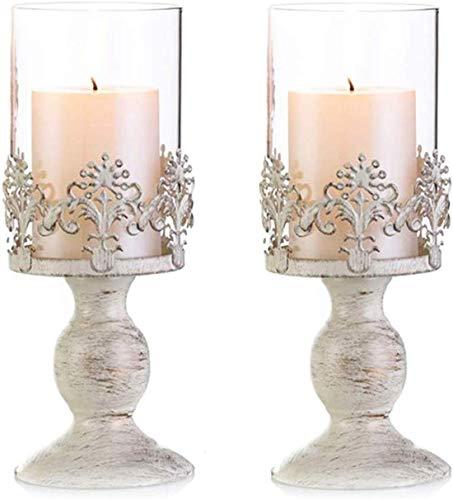 Ulalaza 2 Piezas Vintage candelabro de Pilar de Metal con Pantalla de Cristal Cubierta Encanto Acento Pantalla decoración del hogar