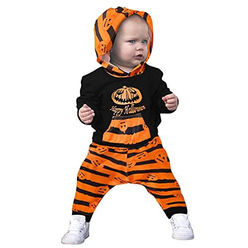 Binggong Infant Kinder Halloween Kostüm Baby Jungen Mädchen Set Cartoon Kürbis Bedrucktes Langarm Hoodie Strampler + Gestreift Hose Set Unisex Baby Schlafstrampler Outfits Kleidung