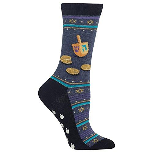 Hot Sox Women's Dreidel and Gelt Non Skid Socks