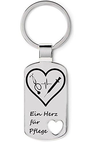 Schlüsselanhänger aus Edelstahl, Geschenk für Krankenschwester, Krankenpfleger mit Gravur - Ein Herz für Pflege, Accessoire für Pflegeberufe
