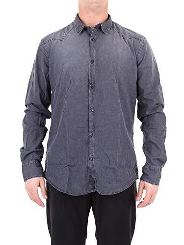 Aglini Luxury Fashion Herren 123296GREY Grau Elastan Hemd | Jahreszeit Outlet