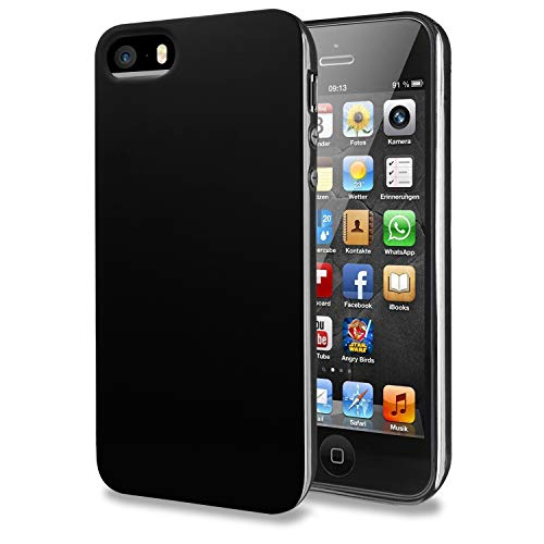 TENOC Phone Case Compatible for Apple iPhone SE/iPhone 5S/ iPhone 5, Slim Fit Cases Soft TPU Bumper Protective Cover, Glossy Black