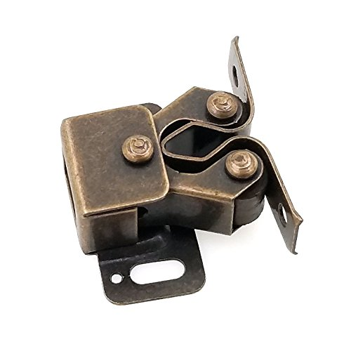 Modket M4326-AC-2 Antique Copper Cabinet Furniture Door Latch Double Roller Catch — 2 Pack