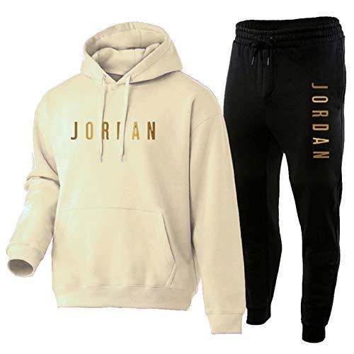 TYYD Sudadera con capucha para hombre de Jordan, de manga larga, con capucha y pantalones, color beige-XXXL