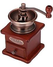 Molinillo de café manual, molino de grano de café de manivela artesanal Vintage ONEVER con ajustes de molienda ajustables Cajón de captura de madera