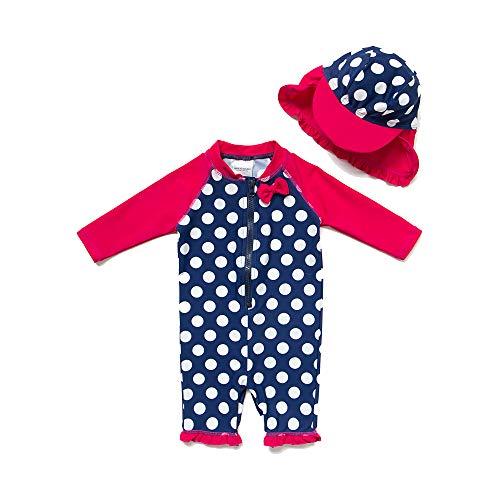 Baby Mädchen Ein stück 3/4 der ärmellänge UV-Schutz 50+ Badeanzug MIT Einem Reißverschluss(Rosa-BXWelle punkte,3-6M)
