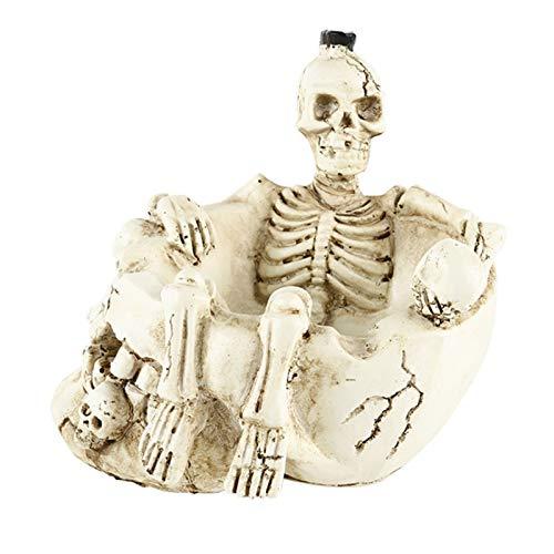 Lycoco Cigarrillo cenicero Resina Esqueleto cráneo Baterista Espeluznante cenicero Decoraciones Arte para Interiores al Aire Libre decoración para el hogar barware Fumar receptáculos,B