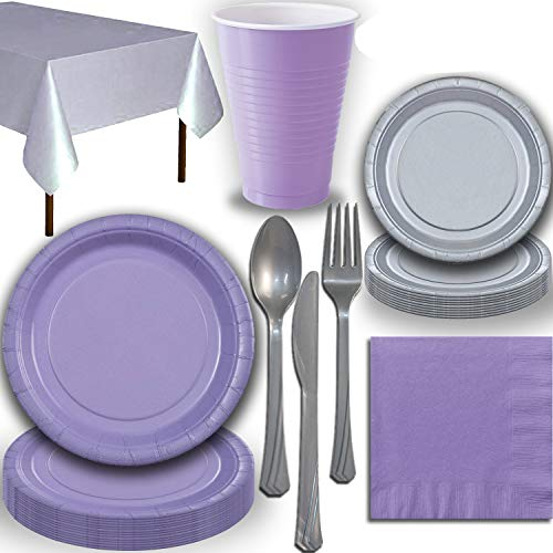Disposable Party Supplies, Serves 40 - Lavender and Silver - Large and Small Paper Plates, 12 oz Plastic Cups, Heavyweight Cutlery, Napkins, and Tablecloths. Full Two-Tone Tableware Set