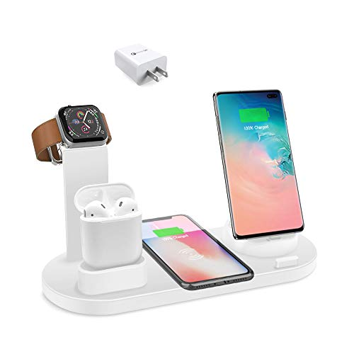 BixMe Wireless Charger Station,7.5W Qi Fast Wireless Charging,4IN1 Wireless Charge Dock Station for iWatch and Airpods,Compatible with iPhone11/11Pro/XSMAX/XR/XS/X/8/8P,Galaxy S10/S9/S9+/S8 and More