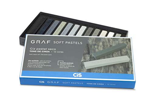 Giz Pastel Seco Graf Soft, CIS, Caixa c/12 cores com tons de cinza sortidas