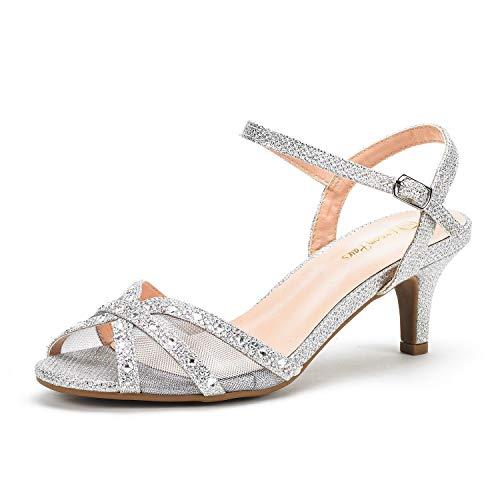 Dream Pairs Women's Nina-150 Silver Low Heel Pump Sandals - 8.5 M US