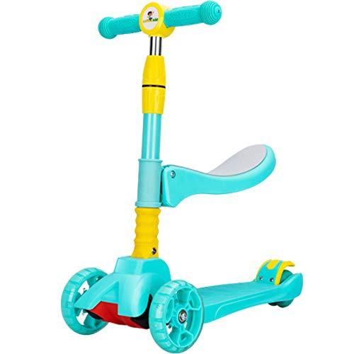 3 Ruedas Kick Scooter, Luces LED sobre Ruedas, Vespa del Retroceso con Asiento extraíble, Ajustable en Altura para niños y niñas de 2-12 Años de Edad,Verde