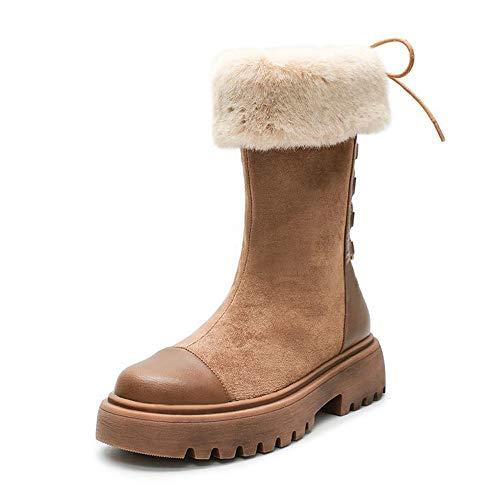 ICHUANGDIANZI Botas De Tubo Medio Botas De Nieve Mujer Invierno Nuevas Botas Cortas Botas Martin De Suela Gruesa Zapatos De Algodón De Terciopelo Y Calidez Engrosada (Color : Brown, Size : 35)