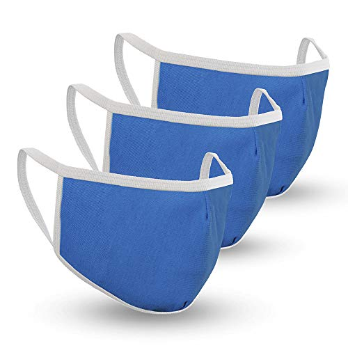 Safe+Mate x Case-Mate - Kids Face Mask (Ages 7-11) - Washable & Reusable - Cloth Face Mask - Cotton - with Filter - 3 Pack - Blue