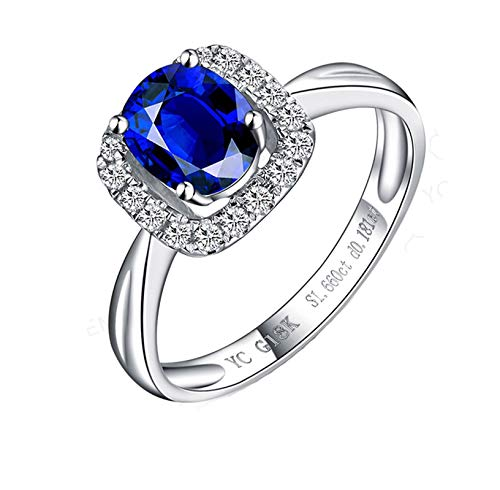Ubestlove White Gold Rings Men 5Oth Birthday Gifts For Women Oval Ring Sapphire 0.9Ct J 1/2