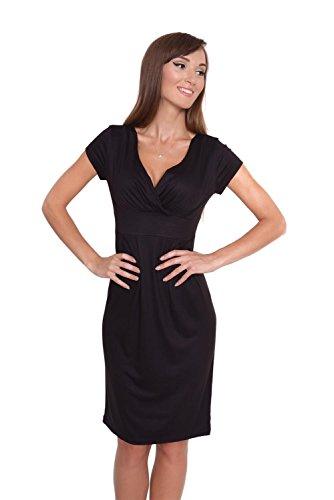 AE Elegante jurk V-hals met plooien + mama-mode, maat 36 38 40 42 44 46, 8211