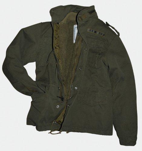 Commando Field Veste Vintage m65 Parka Veste en Coton Style délavé Vert Olive-Taille XL