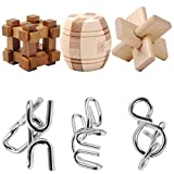 Yamix IQ Test Toy Disentanglement Puzzles Toy Ultimate IQ Test Metal Brain Teaser Puzzles Highly Stimulating Brain Teasers Include 3Pcs Iron Metal Puzzle and 3Pcs Wooden Kong Ming Lock