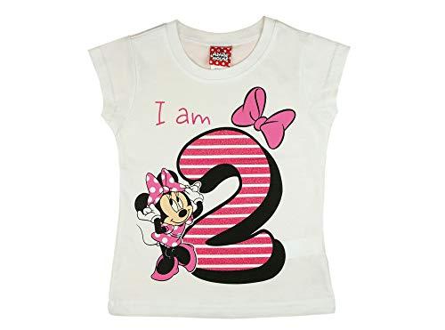 Kleines Kleid Mädchen Baby Kinder zweiter Geburtstag Kurzarm T-Shirt 2 Jahr Baumwolle Birthday Outfit GRÖSSE 92 Minnie Mouse Disney Design und Glitzer in Weiss oder Rosa Babyshirt Oberteil Farbe Weiss