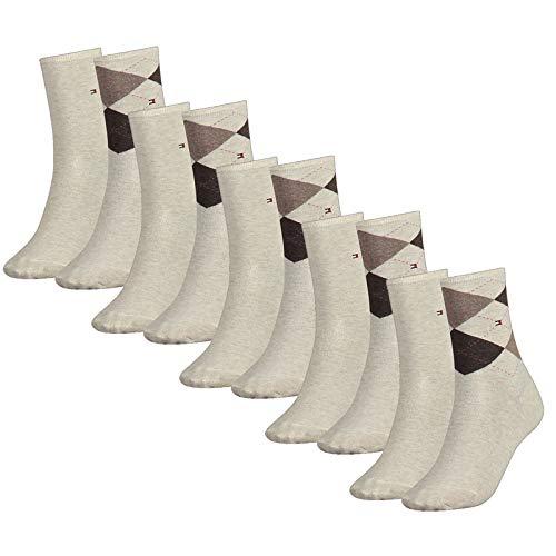 Tommy Hilfiger Damen Socken, Check Sock, Strümpfe, Rauten, Vorteilspack, Vorteilspack (Beige, 39-42 (10 Paar))