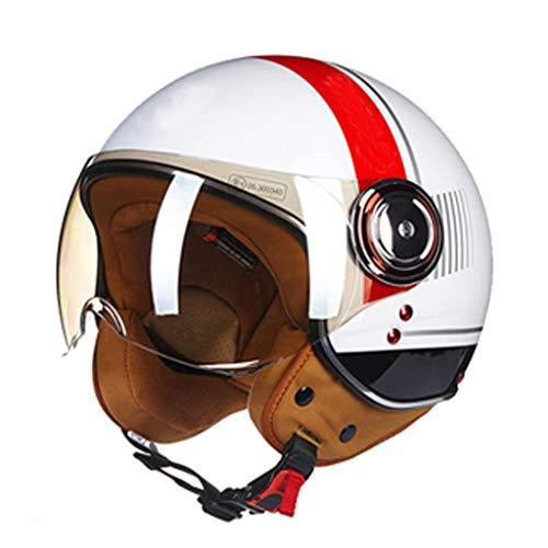 DJcala retro halve helm met bril, motorhelm, vintage, ECE standaard, elektrische cyclus, voor dames en heren, cruiser chopper scooter (54-60 cm)