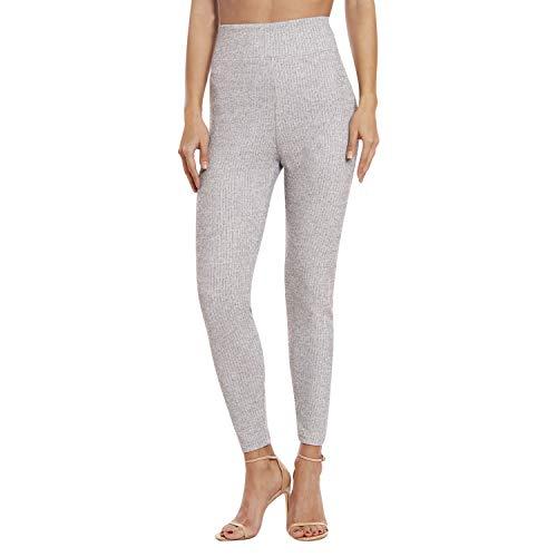Leggings for Women - Premium Stretch Skinny Leggings for Women - Women Leggings Ribbed Grey Medium