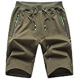 ZOXOZ Verano Shorts Deportivos Hombre Pantalones Cortos para Hombre Deporte Cremallera Pantalon Corto Hombre Algodon Pantalón Corto Verde M