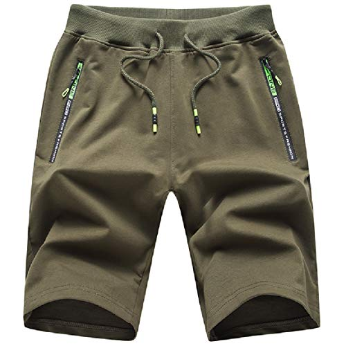 ZOXOZ Verano Shorts Deportivos Hombre Pantalones Cortos para Hombre Deporte Cremallera Pantalon Corto Hombre Algodon Pantalón Corto Verde L