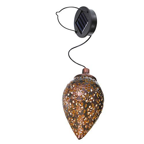 Qiraoxy Luz solar de hierro hueco impermeable colgante luz solar para jardín patio decoración gota agua hierro forjado lámpara hueco lámpara rugby decoración araña