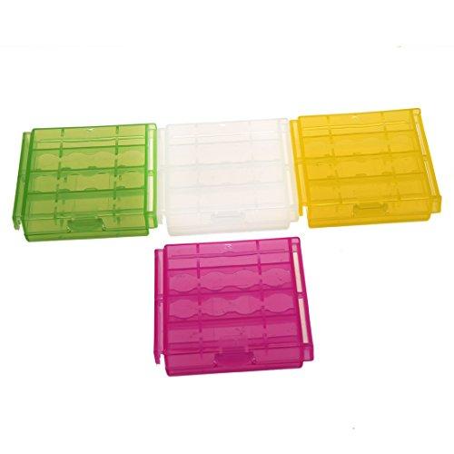 SODIAL(R) 4 x Caja Plastico Estuches pa AA/AAA Bateria Pila Nueva