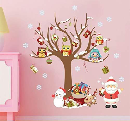 Décoration de Noël sticker mural hibou sur l'arbre cadeau Père Noël flocon de neige cadeau PVC stickers muraux intérieurs pour chambres d'enfants cadeau de nouvel an