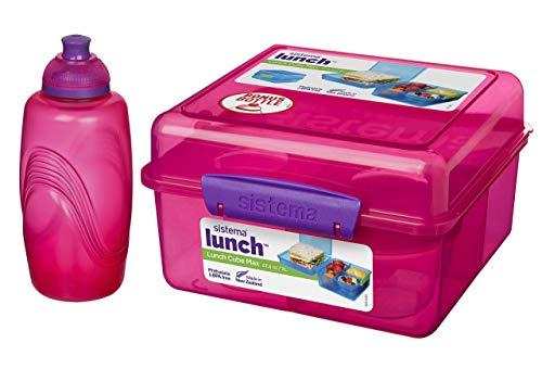 Lunchbox MAX Cube - 2 l + Joghurtbehälter - 150 ml + Wasserflasche - 385 ml Pink