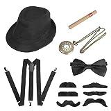 Achort Accesorios de Vestir para Hombre de los años 20, Disfraz de Gatsby Gangster con Sombrero de Trilby, Bigote elástico en la Espalda en Y, Pajarita, Reloj de Bolsillo Vintage y cigarro Artificial